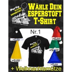 T-Shirt Esperstoft Black Nr. 1 mit Weihnachtsmütze