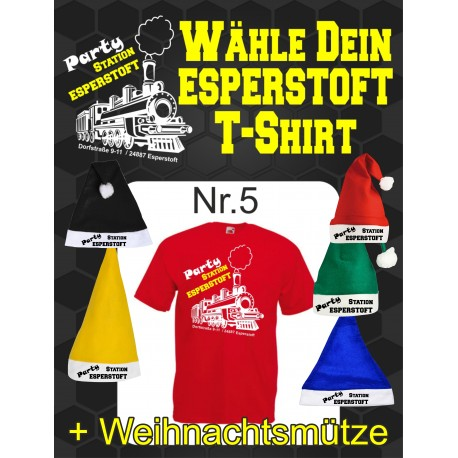 T-Shirt Esperstoft Red Nr. 5 mit Weihnachtsmütze